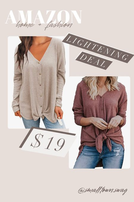 Amazon Lightening Deal — Slouchy tie front tee! . . . .  Amazon sweater // sweaters oversized sweater // Amazon fashion // Amazon deals // Amazon finds // Amazon clothes // fall outfit // fall outfits // gifts for her // sweaters // striped sweater // tie front tee // button down shirt // slouchy tee // long sleeve tee // long sleeve shirt   #LTKSale #LTKHoliday #LTKGiftGuide