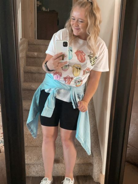 Sized up in the tee to a large, bike shorts I'm in a medium!   Target finds, bike shorts, oversized tee, graphic T-shirt, Rolling Stones tee, target shirt, wild fable, summer outfits, chambray shirts, mom outfits, bike shorts outfits, converse shorelines, Apple Watch scrunchie band, leisure wear, adventure outfit.    http://liketk.it/3hDyv #liketkit #LTKtravel #LTKsalealert #LTKfit @liketoknow.it