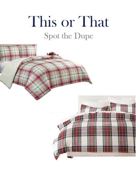High and low plaid Christmas bedding