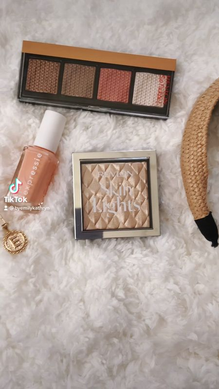 Summer must haves. Loving coral a d bronze makeup right now. This reckon highlighter is so pretty and apparently a dupe for the ABH Amrezy highlighter. The eyeshadows are creamy and pigmented. And I love a good peach nail polish!   #LTKbeauty #LTKunder50
