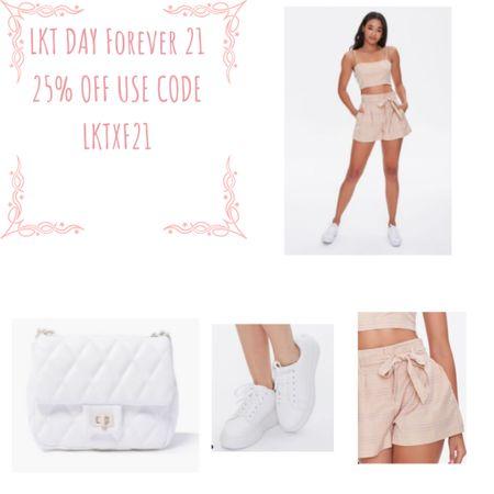 Forever 21: 25% off LKTDAY sale   Summer co ord casual outfit   Co ord  Cross body bag Sneakers Shorts   #lkit #sale #forever21     #LTKstyletip #LTKSeasonal #LTKsalealert