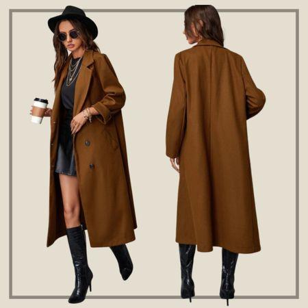 Lapel collar longline pea coat  #LTKunder50 #LTKstyletip