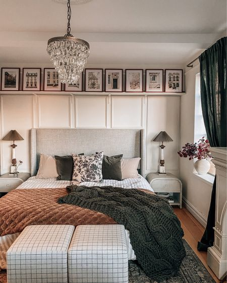 Bedroom decor refresh for fall (chunky knit blanket, velvet quilt, faux florals, windowpane cubes/ottomans, prints, and more)   #LTKhome #LTKSeasonal #LTKstyletip