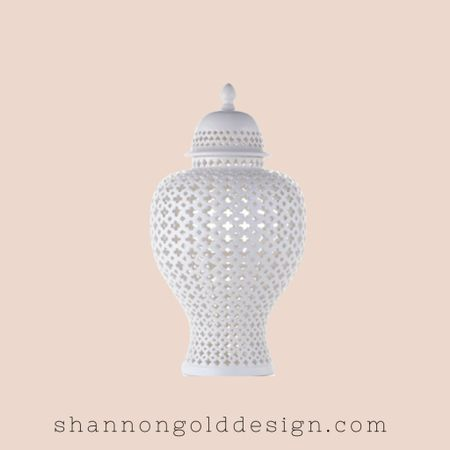 White Ceramic Filigree Ginger Jar. White temple jar. The surface of the jar is hand-carved in an intricate cutout pattern, topped with a refreshing glossy white glaze. On sale!   #LTKsalealert #LTKhome #LTKstyletip