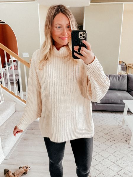 Nordstrom anniversary sale try on  Free people sweater - wearing a S, oversized fit also fits my bump right now, so cozy! Will be wearing this with the leggings and tall boots for fall  Spanx maternity leggings  Spanx faux leather leggings fit snug - size up one size!! Leggings you'll live in all season long, easily dress them up or down  Fall outfit   #LTKunder100 #LTKsalealert #LTKbump