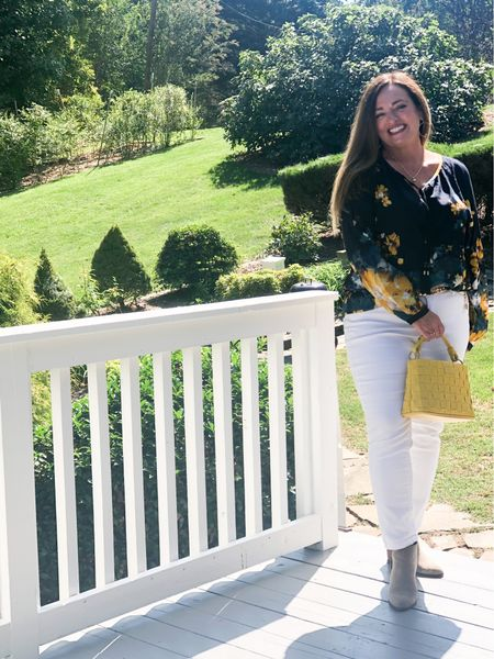 Yes to white after Labor Day! This gorgeous navy and yellow floral is the perfect transition piece for Fall #gifted #lovechicos I just added my beige wedge booties and chain belt..  Purse:@labante_london use code Joy10   #LTKstyletip #LTKbacktoschool #LTKSeasonal