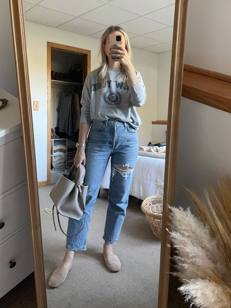 Casual fall outfit, distressed jeans, Agolde 90's jeans, graphic sweatshirt  #LTKSeasonal