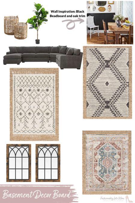 Mood board for the basement living room. Love the jute rug! We love our radley so much we got another one for the basement.   #LTKsalealert #LTKhome