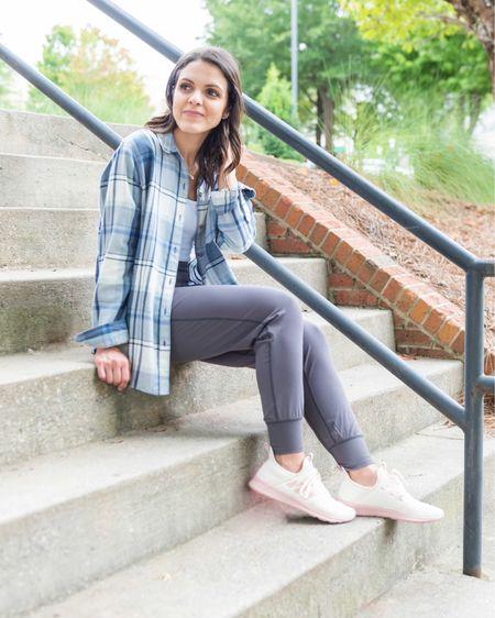 Plaid button down (xs) Colorfulkoala joggers (s) Adidas cloudfoam sneakers (tts) white bodysuit (xs) — Amazon fashion, target style, athleisure   #LTKunder50 #LTKfit #LTKstyletip