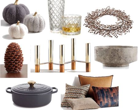 """I found the cutest fall decor for your tabletop or living room! Luxe pillows, pumpkins, bar ware, candles, candle holders, and wreaths. These """"not basic"""" decorations will last for years. The neutral colors go with everything! And the Le Creuset Dutch oven with gold handle is on sale! http://liketk.it/2Zvuz #liketkit @liketoknow.it #LTKhome @liketoknow.it.home"""