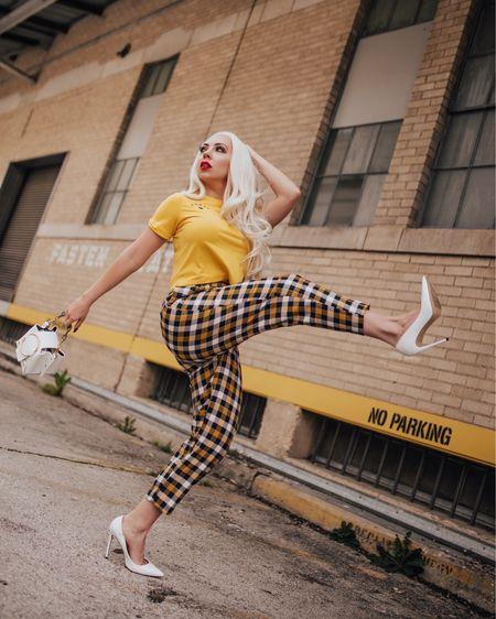 If I can't do high kicks or dance in it, then i won't wear it 💃🏻     / #LTKunder100 #LTKunder50 #LTKstyletip #LTKitbag http://liketk.it/2A1r8 @liketoknow.it #liketkit #plaid #checkers #yellow #paperbagpants #topshop #tararrized #dfw #dallasblogger #fashionootd #instafashion