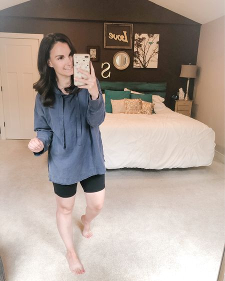 Hoodie and bike shorts, may be my next go to quarantine outfit! http://liketk.it/2Oxon @liketoknow.it #liketkit You can instantly shop my looks by following me on the LIKEtoKNOW.it shopping app