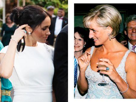 Meghan wearing Princess Diana's aquamarine ring #jewelry #ring   #LTKeurope #LTKstyletip