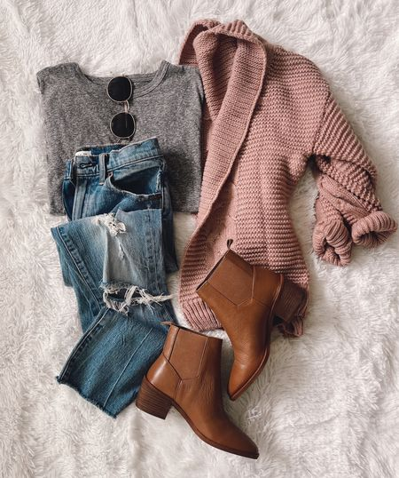 Amazon cardigan. Size small. Target tee size xs. Booties are true to size; if between sizes go up! 🍂    #LTKstyletip #LTKshoecrush