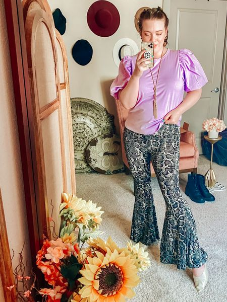 Sunday vibes with  • Puff sleeve top by a new day  • Snakeskin animal print patterned pants by show me your mumu with a super cool flare leg  • Kendra Scott tassel necklace and gold Vince low block heels!   Highly recommend the top at $15!   #LTKstyletip #LTKcurves #LTKVDay