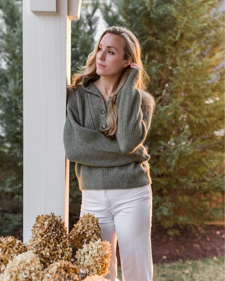 One of my favorite sweaters EVER by Sezane was restocked today! Wearing size S in the 'khaki' color (more sage green). Love the beige, blue, and chestnut as well!