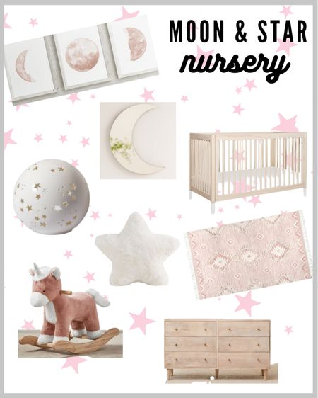Moon and Star baby girl nursery theme! Moon and star nursery decor.