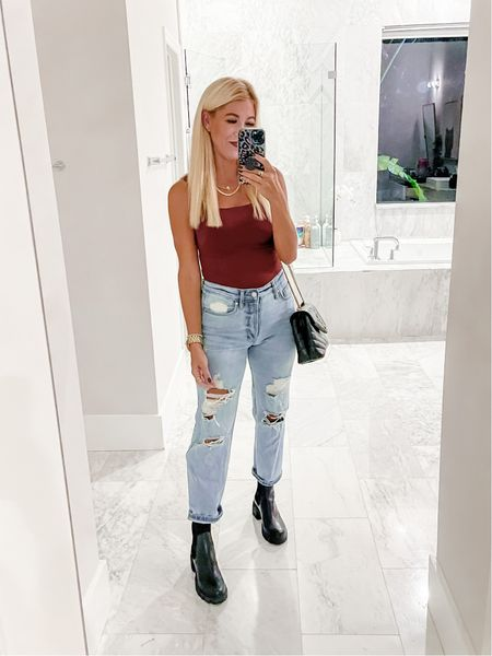 """Target $22 and they're on sale 20% off right now if you click on the """"save offer"""" deal and this amazon bodysuit is so cute & comes in tons of colors. Also linking these new basic black booties I got for fall that I think are going to go with so much!   #LTKshoecrush #LTKsalealert #LTKunder50"""