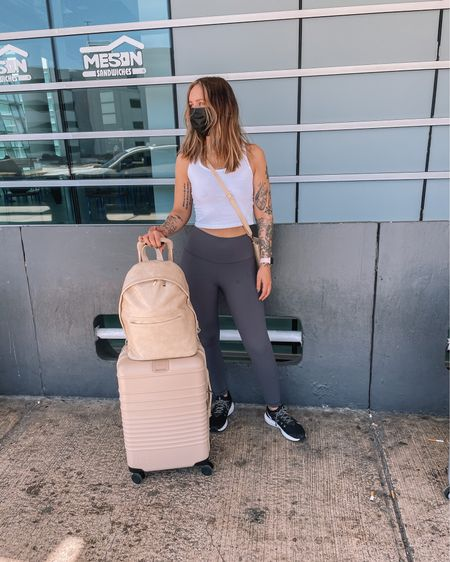 Shirt and leggings from Amazon and new beige luggage from Beis😍 size small in the tops and medium in leggings #LTKunder100 #LTKunder50 #LTKstyletip  http://liketk.it/3dRgy #liketkit @liketoknow.it
