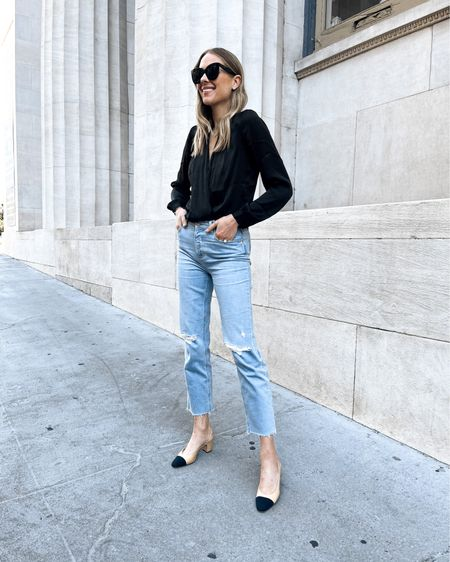 Obsessed with these ripped jeans! They have the perfect amount of stretch so they are comfortable ALL day! Fit TTS. Bodysuit is TTS (small) #falloutfits   #LTKunder100 #LTKstyletip