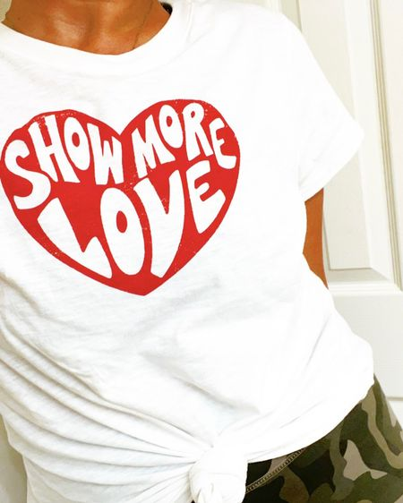 SHOW MORE LOVE! Perfect week for it! Happiest tee! (Make sure to pick color 'white/red' at link!)  http://liketk.it/386nC #liketkit @liketoknow.it