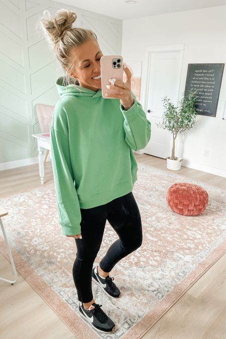 Women's hooded sweatshirt from Target. Wearing size large for an oversized fit. $20, comes in lots of colors! Also wearing the perfect pant leggings from Spanx in medium. Use SARAHJOYxSPANX for 10% off and free shipping!   #LTKSeasonal #LTKshoecrush #LTKunder50