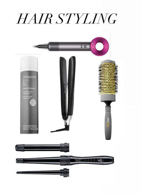 Curling wand, flat iron, hair dryer, round brush, heat protectant spray. Hair styling products and tools