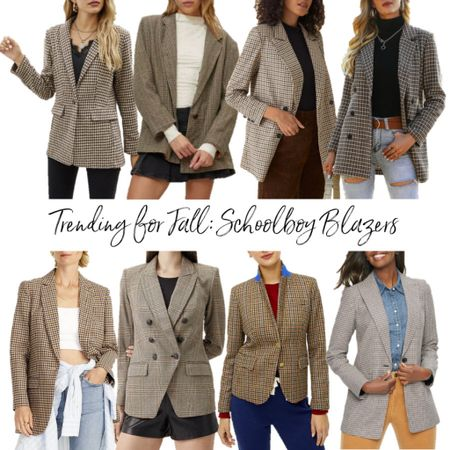 Schoolboy blazers are trending for fall! Linking my favorites, including a bunch of affordable options.  . Fall outfit fall blazer houndstooth blazer plaid blazer oversized blazer shein workwear office outfit teacher outfit   #LTKSeasonal #LTKunder50 #LTKunder100