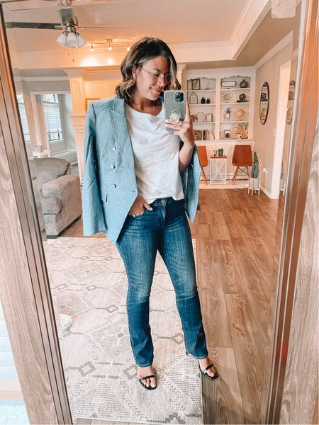 Super fun look from WHBM! Love this blazer, the military style buttons and color make it perfect for all year round. Love it with a fun pair of boot cut jeans and heels. #ltkshoecrush #ltkunder50 #ltkworkwear  #LTKSeasonal #LTKunder100 #LTKbacktoschool