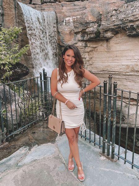 Amazon dress (M), Tory Burch handbag on sale, clear wedges, girls night outfit  #LTKitbag #LTKshoecrush #LTKstyletip