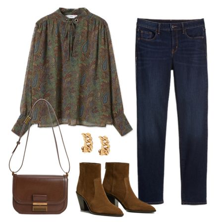 """An ideal """"first day of fall"""" look 🤎 Love the colors in this paisley blouse! The blouse, jeans, handbag, and boots are all under $100!   #tssedited #thestylescribe #fall #ootd #outfitinspo #falloutfit #budgetfriendly  #LTKSeasonal #LTKunder100"""