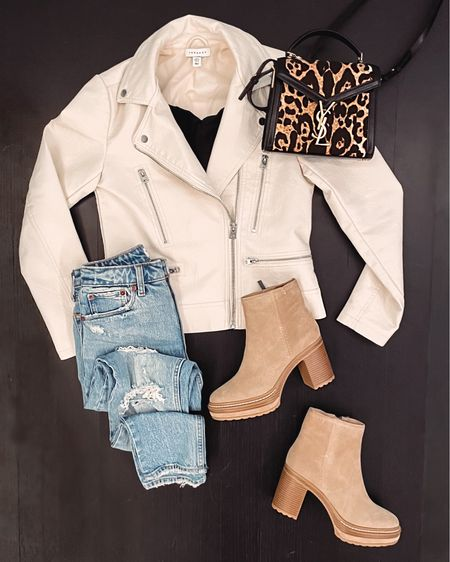 Love a faux leather jacket for the fall 😍 paired here with my tan heeled boots from Steve Madden, distressed mom jeans and a black tank from Abercrombie, and my new leopard print bag. A jacket like this would also make a great gift!    #LTKSeasonal #LTKHoliday #LTKshoecrush