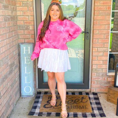 Spring tie dye monogram sweatshirt swing skirt white flowy skirt loveshackfancy dupe skirt Steve Madden stud sandal dupe target shoes   #LTKshoecrush #LTKunder50 #LTKSeasonal