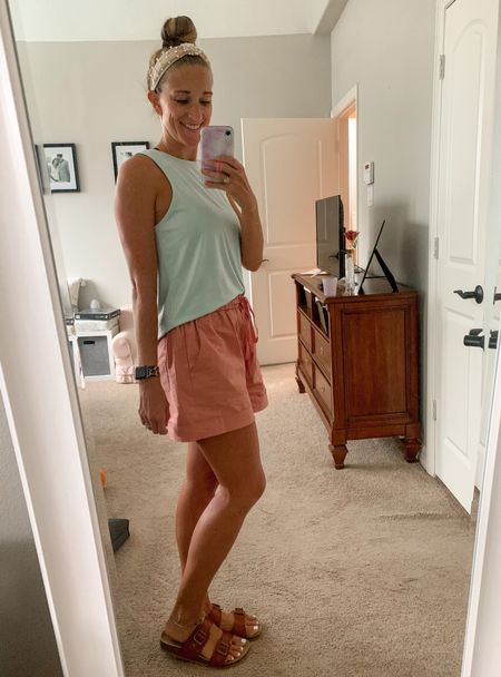 Summer isn't over yet! These elastic waist drawstring shorts are perfect for transitioning from summer to fall. Add a jean jacket when the air is crisp!  Size up in these shorts! I'm usually a S/M and ordered a Large! They come in 12 colors.  #LTKstyletip #LTKSeasonal #LTKunder50