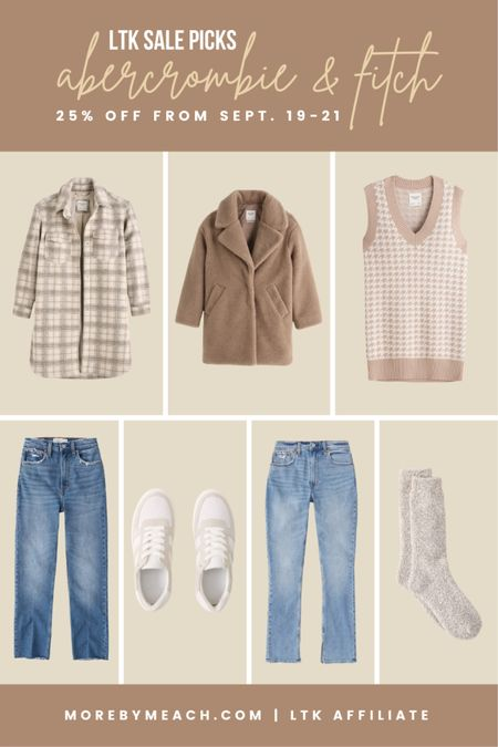 Some capsule wardrobe clothes I'm obsessing over from Abercrombie: long plaid shacket, teddy coat, sweater vest dress, curvy fit jeans, cozy socks, neutral sneakers. 🤍   #LTKsalealert #LTKSale #LTKswim