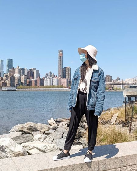 bucket hat, denim jacket, slip on sneakers  #LTKshoecrush #LTKstyletip #LTKunder100