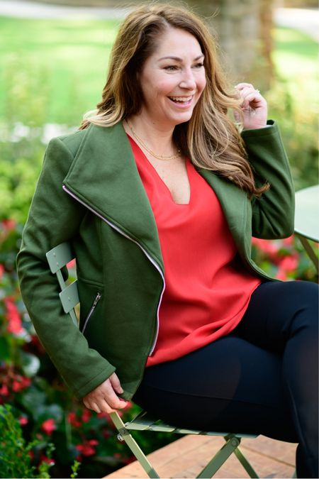 Gibsonlook x The Recruiter Mom Fall Outfit  Code RYANNE15 for 15% off all new arrivals with gibsonlook  Moto jacket, runs small, L // Pants, size up for petite, XLP //Blouse, L  Fall Style  Women's Clothing  Fall Outfits  #LTKSeasonal #LTKstyletip #LTKbeauty