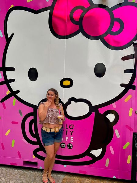 Vegas has definitely been interesting but nothing a little Hello Kitty can't try to make up for! My child hood friend hasn't aged a day! 💕 . This top brought me out of my comfort zone but when I saw it, I knew I had to have it and it was worth the brief panic to get it! (I love the set but it does run very small- I had to size up. Now it's perfect!).  #LTKunder50 #LTKstyletip #LTKtravel
