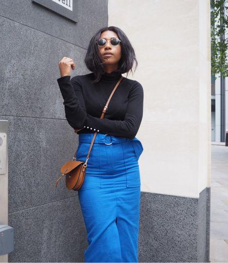 Cobalt blue skirt, midi skirt, pencil skirt, combat blue, black turtleneck, cross body bag   #LTKeurope #LTKunder100 #LTKstyletip