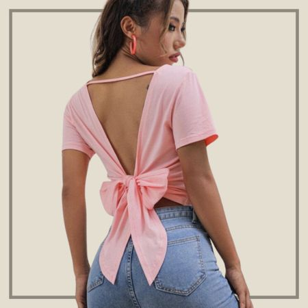 Tied back pink tee  #LTKunder100 #LTKunder50 #LTKstyletip