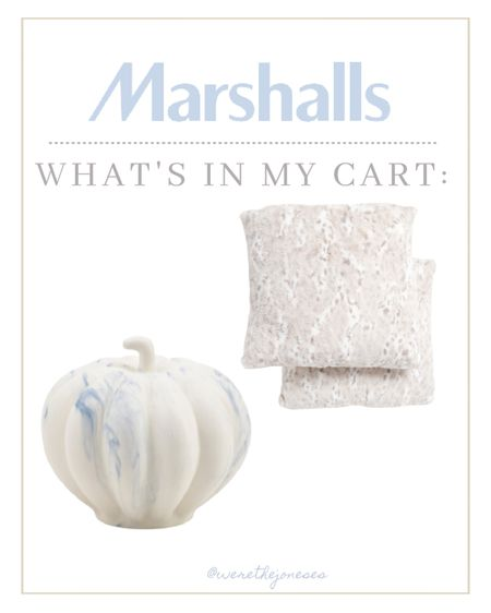 Fawn print pillows and marble look pumpkin from Marshalls  _ Pumpkins  Fawn print Deer print Throw pillows  Blue and white Fall decor Pumpkin decor Classy decor White pumpkins Modern decor Modern fall decor Fall decorations  Living room Kitchen Entryway Bedroom   #LTKHoliday #LTKSeasonal #LTKhome