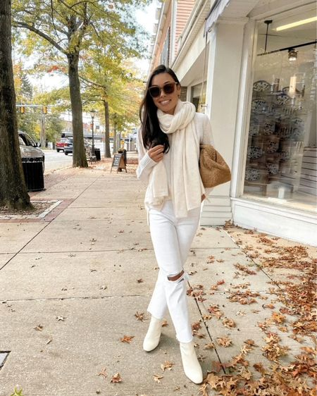 All white neutral outfit with cashmere wrap and white jeans    #LTKstyletip #LTKshoecrush