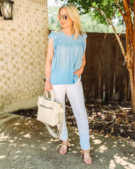 I'm made in the shade and loving this pairing of pastels and crisp white. Wearing a size small in the top and size 2 in the jeans. My size info is on my @shop.ltk profile. Shop this look by following me there or by hitting the link in my profile. #summeroutfit #marniesatchel #whitedenim #crossbody #tophandlebag #fashionover40 #styleover40 #walmartfashion   #LTKshoecrush #LTKunder50 #LTKitbag