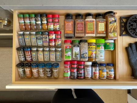 A simple solution to organize your spices in a drawer. #drawerorganization #organizespices #spices #organization  #LTKhome