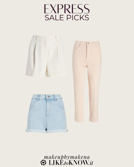 http://liketk.it/3grnL #liketkit @liketoknow.it #LTKsalealert #LTKunder100 #LTKunder50 save 40% off everything at Express during Memorial Day, including these shorts and jeans for summer