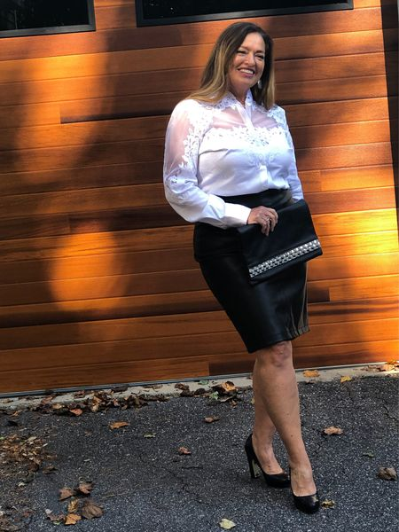 A gorgeous white blouse that has boasts a sheer yolk and exquisite lace design.. I am going to call this my bridal blouse…  Stay tuned for the way I will style it casual. @whbm #gifted  I love it dressed up with my faux leather skirt and black pumps..      #LTKstyletip #LTKGiftGuide #LTKcurves