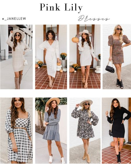 A dress for every occasion. #dresses #pinklily #occasion #sweaterdress #midi #gingham #floral #black #neutrals   #LTKGiftGuide #LTKSeasonal #LTKHoliday