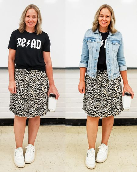 Casual everyday teacher outfit featuring a rock reading graphic tee, leopard pleated skirt, denim jean jacket, and Reebok Club C retro sneakers #leopard #sneakers #reebok #read #teacher #casual #fall #animalprint http://liketk.it/2UYez @liketoknow.it #liketkit