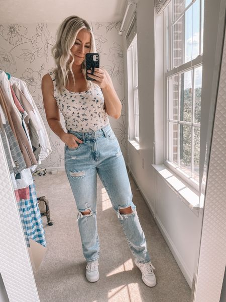 Where have these jeans been all my life?! They fit so well and are less than $60! I took my regular size in them and they fit perfectly! Mom jeans, high rise jeans   #LTKstyletip #LTKunder100 #LTKsalealert