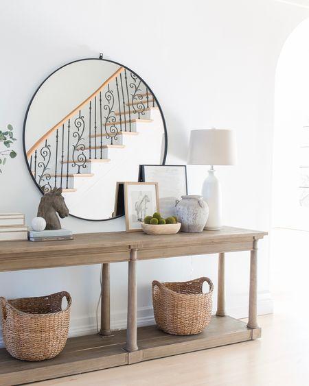 Foyer, entryway, console table, mirror, baskets, decor, lamp  #LTKstyletip #LTKhome #LTKSeasonal